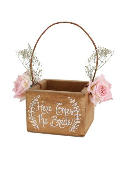 Here Comes The Bride Rustic Flower Girl Basket - Wedding Gifts & Decorations