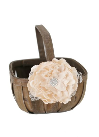 Flower Girl Basket with Lace and Rhinestones - Wedding Gifts & Decorations