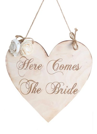 Here Comes The Bride Heart Ceremony Sign - Wedding Gifts & Decorations