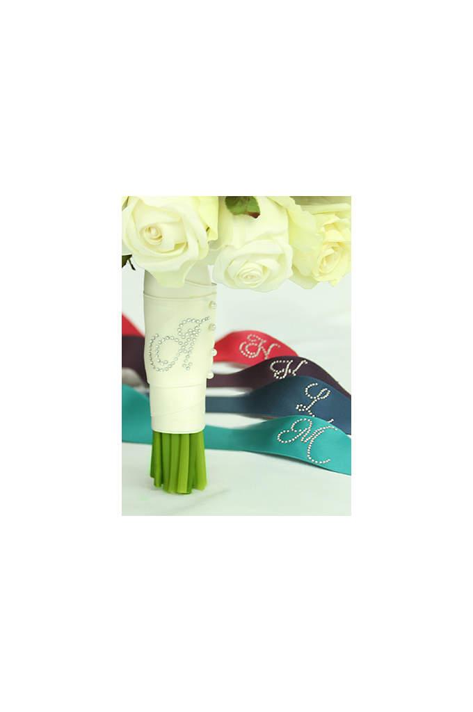 DB Exclusive Rhinestone Initial Bouquet Wrap - Wrap your bouquet in this beautiful personalized satin