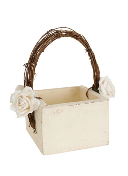Darling Shabby Chic Flower Girl Basket - Wedding Gifts & Decorations