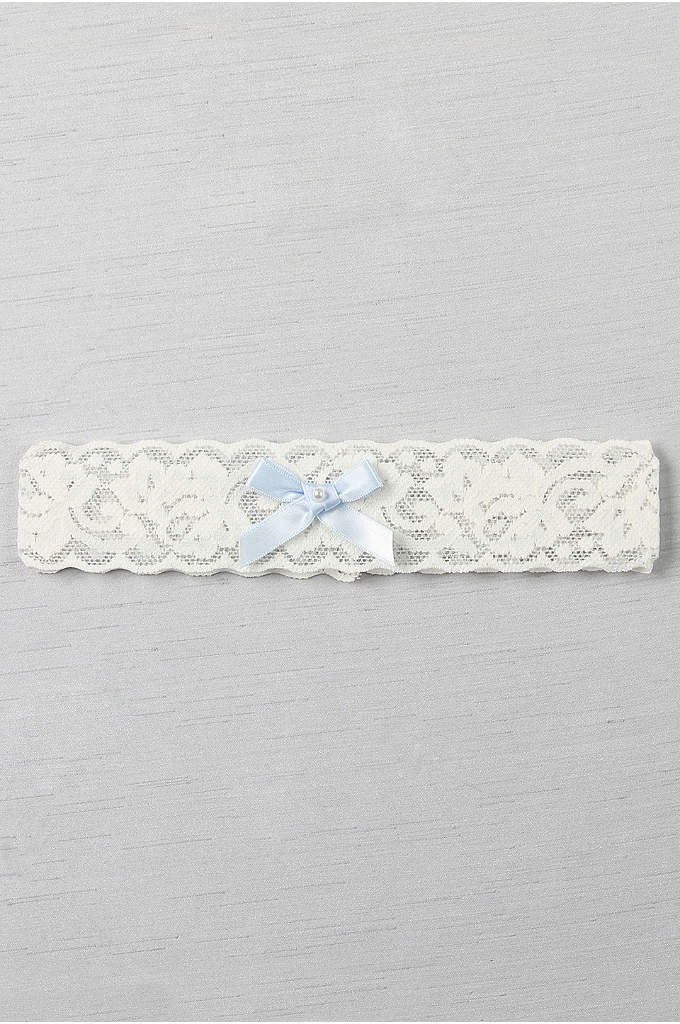 Blue Bow and Pearl Vintage Lace Garter