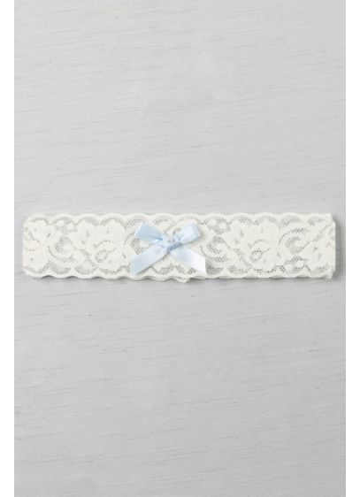 Blue Bow and Pearl Vintage Lace Garter - Wedding Accessories