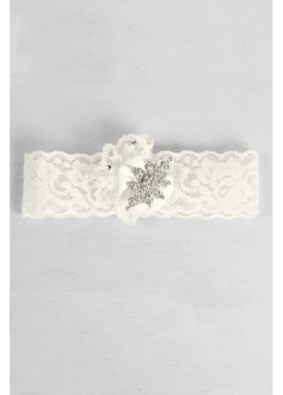 Ruffle and Rhinestone Brooch Vintage Lace Garter DB1033