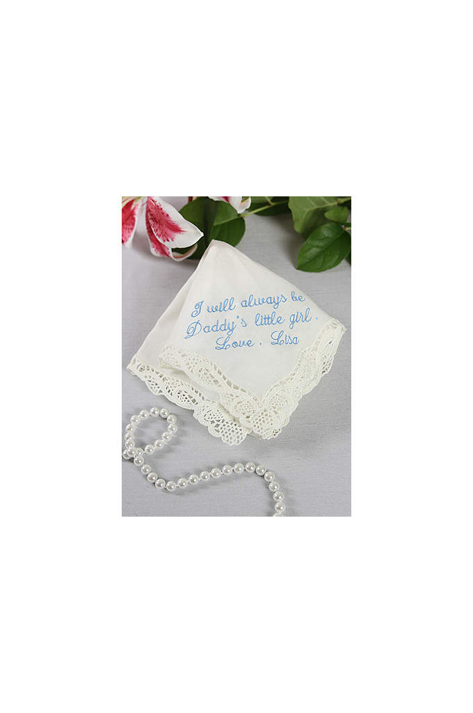 Personalized Handkerchief Daddy's Little Girl Poem - Cotton handkerchief with lace trim features sentimental passage: