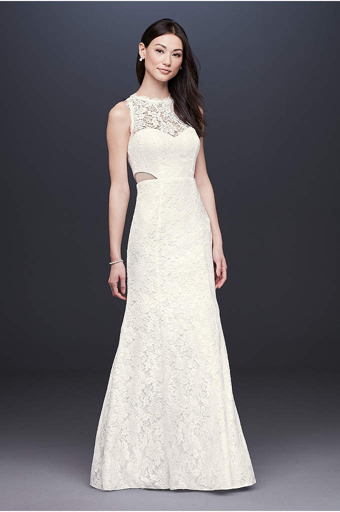 Corded Lace Trumpet Dress with Illusion Sides - Illusion side cutouts and scalloped trim at the