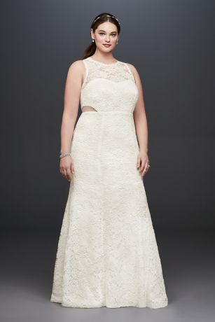 Illusion Corded Lace Trumpet Plus Size Dress - Illusion side cutouts and scalloped trim at the