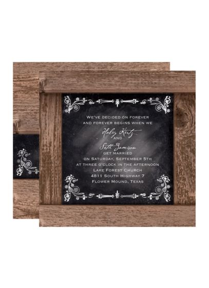 Rustic Chalkboard Invitation Sample - Wedding Gifts & Decorations