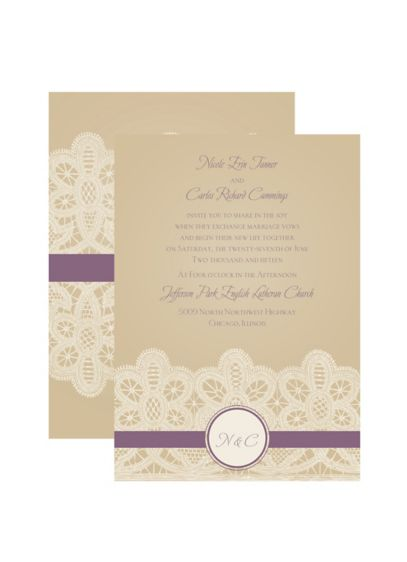Wrapped in Lace Invitation Sample - Wedding Gifts & Decorations
