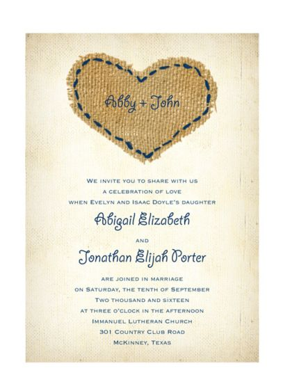 Burlap Heart Invitation Sample - Wedding Gifts & Decorations