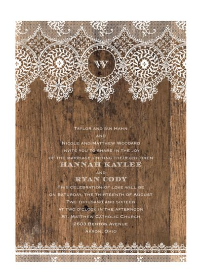 Barnwood and Lace Invitation Sample - Wedding Gifts & Decorations