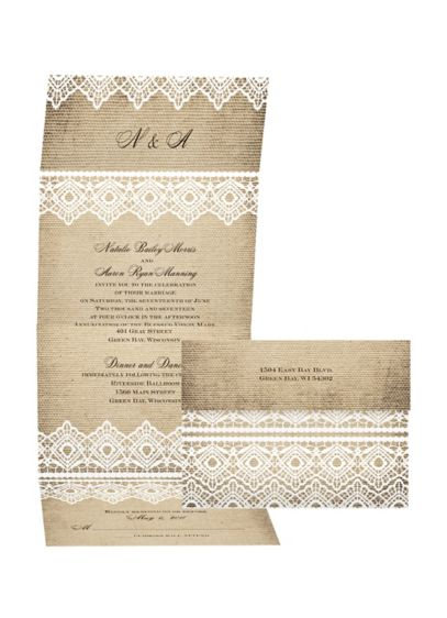 Country Lace Invitation Sample - Wedding Gifts & Decorations
