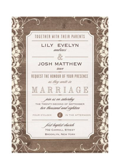 Lovely Lace and Wood Invitation Sample - Wedding Gifts & Decorations