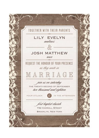 Lovely Lace and Wood Invitation Sample DB33193ECR