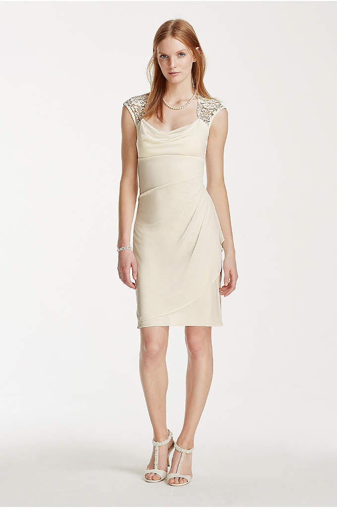Short Mesh Wedding Dress with Lace Cap Sleeves - On-trend and exuding versatile appeal, this short mesh