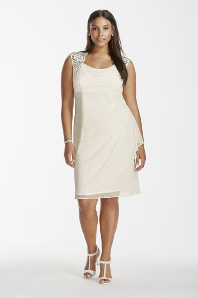 Mesh Short Plus Dress with Lace Cap Sleeves | David's Bridal