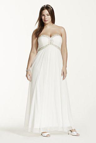 A-Line Plus Size Beaded Bodice Wedding Dress