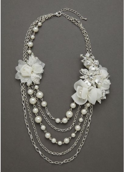Fabric Flower Pearl Necklace - Wedding Accessories