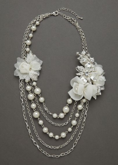 Fabric Flower Pearl Necklace DB43N