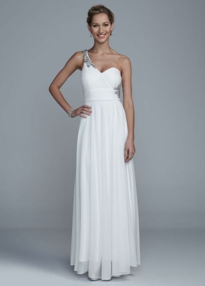 Long One Shoulder Mesh Dress with Open Back Detail DB4409