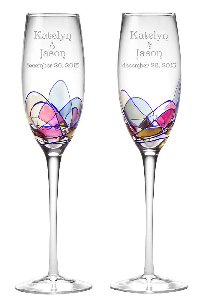 Personalized Helios Toasting Flutes - These are hand-blown flutes that are indiviually hand-painted