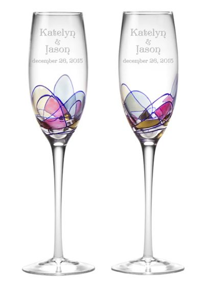 Personalized Helios Toasting Flutes - Wedding Gifts & Decorations