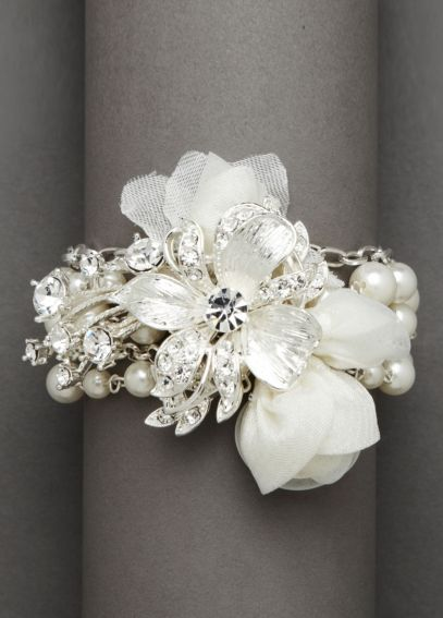 Fabric Flower with Pearl Bracelet DB44B