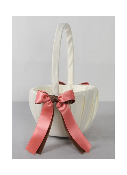 DB Exclusive Double Ribbon Flower Girl Basket - Wedding Gifts & Decorations