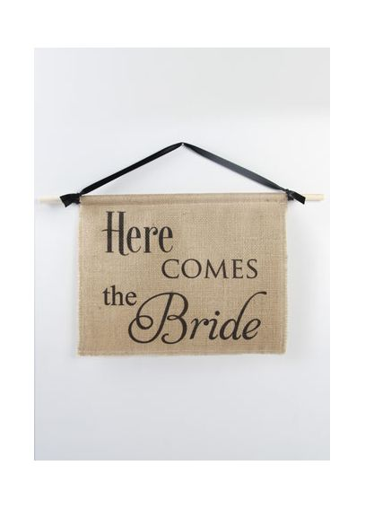 Burlap Here Comes the Bride Sign DB71002
