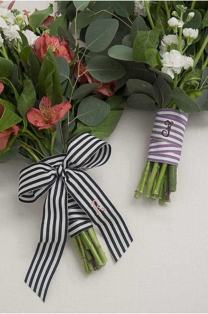 DB Exclusive Personalized Stripe Bouquet Wrap - Wrap your bouquet in this beautiful personalized striped