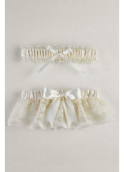 Layered Lace Organza Bridal Garter Set - Wedding Accessories