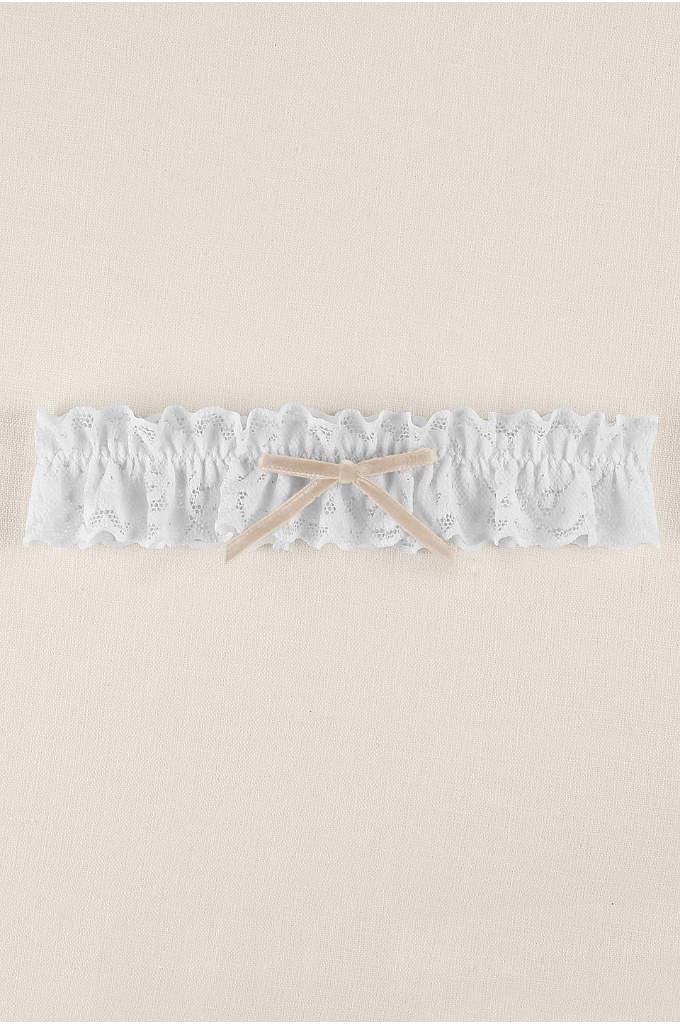 Soft Ruffled Lace Garter with Velvet Bow