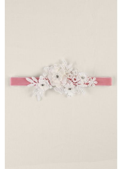 Velvet Elastic Garter with Ivory Applique - Wedding Accessories