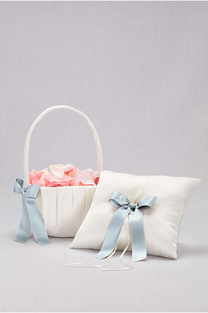 DB Exclusive Single Ribbon Pillow and Basket - Simple. Sweet. Classic. This ivory satin basket and