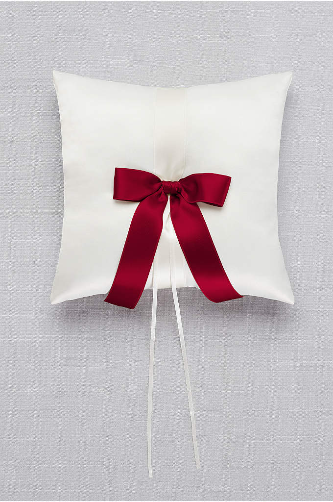 DB Exclusive Single Ribbon Ring Pillow - Simple. Sweet. Classic. This ivory satin ring bearer