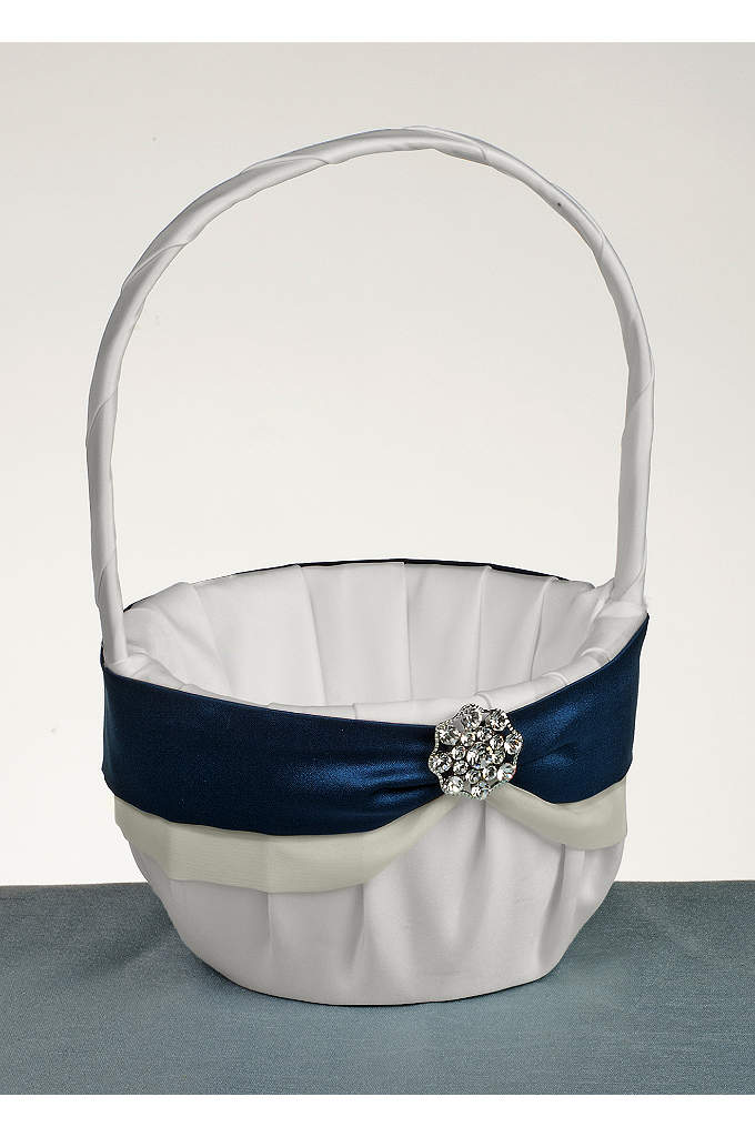 DB Exclusive Luxurious Life Flower Girl Basket - Lush satin basket with colored satin on chiffon