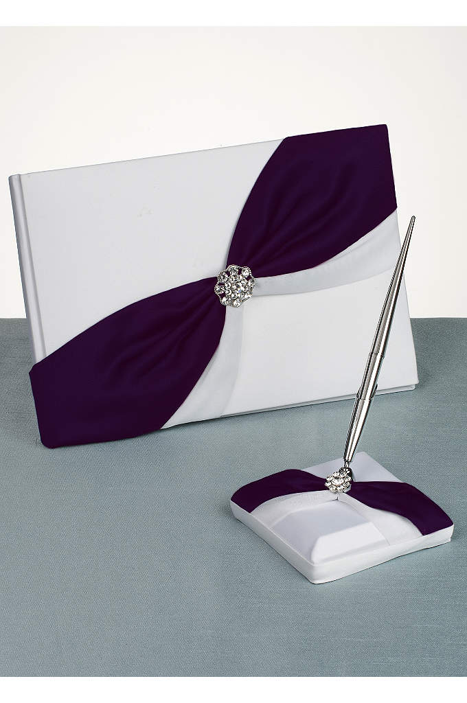 DB Exclusive Luxurious Life Guest Book and Pen - Satin guest book and pen with asymmetrical colored