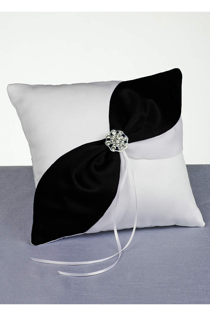 DB Exclusive Luxurious Life Ring Pillow - Lush satin pillow with asymmetrical colored satin on