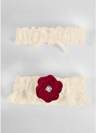 White (DB Exclusive Floral Desire Garter Set)