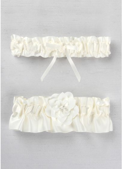 White (DB Exclusive Floral Desire Garter Set)