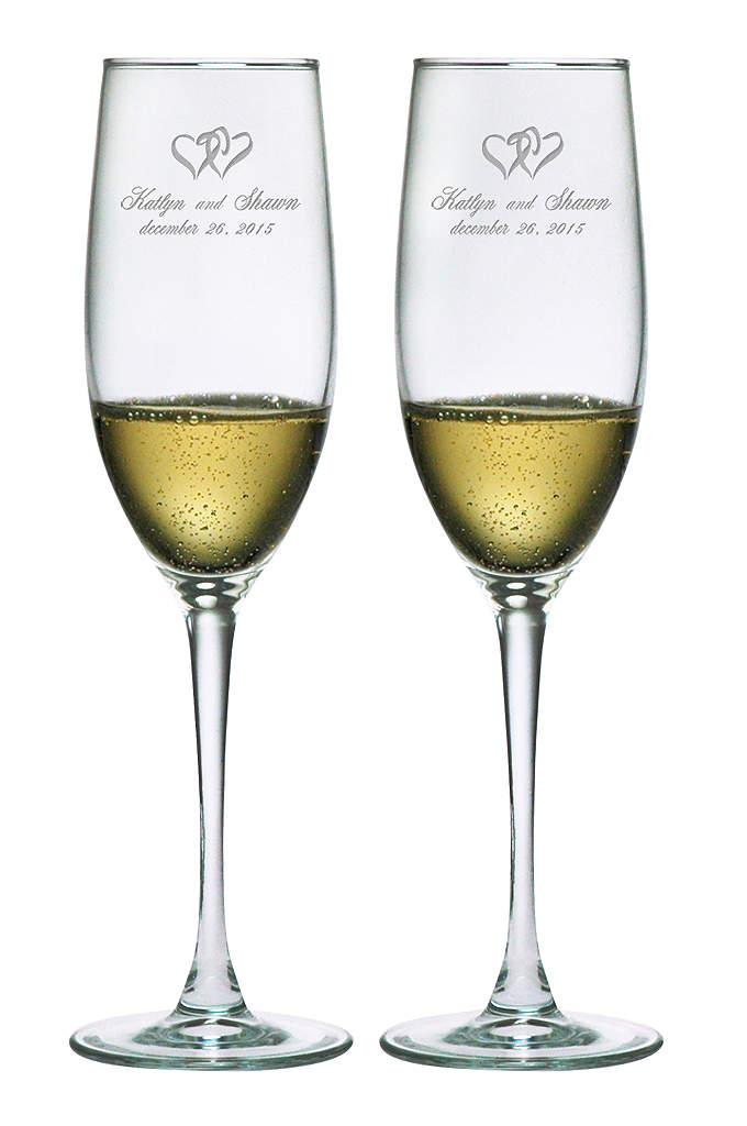 Personalized Heart Design Toasting Flutes - Hearts and weddings go together like Romeo and
