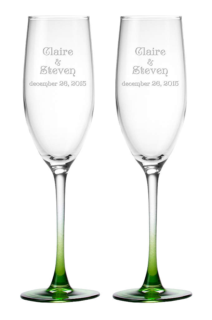 DB Excl Personalized Colored Stem Toasting Flutes - These flutes have been exclusively developed to coordinate
