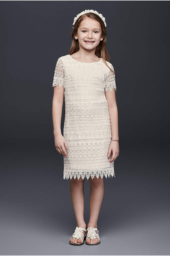 Allover Lace Flower Girl Shift Dress - Go for a boho look with this laidback