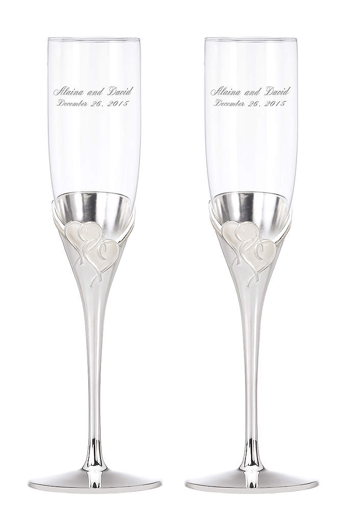 Personalized Lenox True Love Toasting Flutes - Toast to true love for the first time