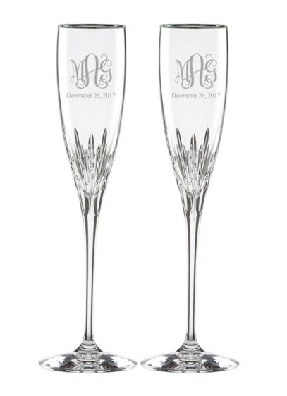 Personalized Lenox Monogram Platinum Rim Flutes - Wedding Gifts & Decorations