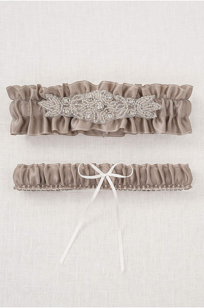 DB Exclusive Sparkle Garter Set - This champagne garter set is adorned with an