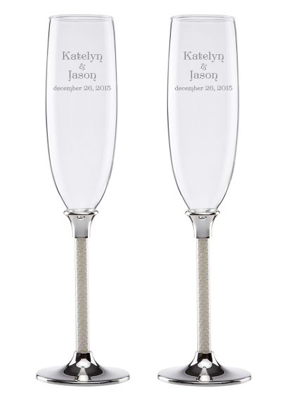 Personalized Lenox Jubilee Pearl Toasting Flutes - Wedding Gifts & Decorations