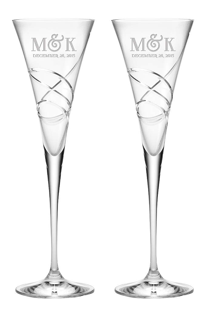 Personalized Lenox Adorn Trumpet Flutes - From the Lenox Adorn collection, these crystal toasting
