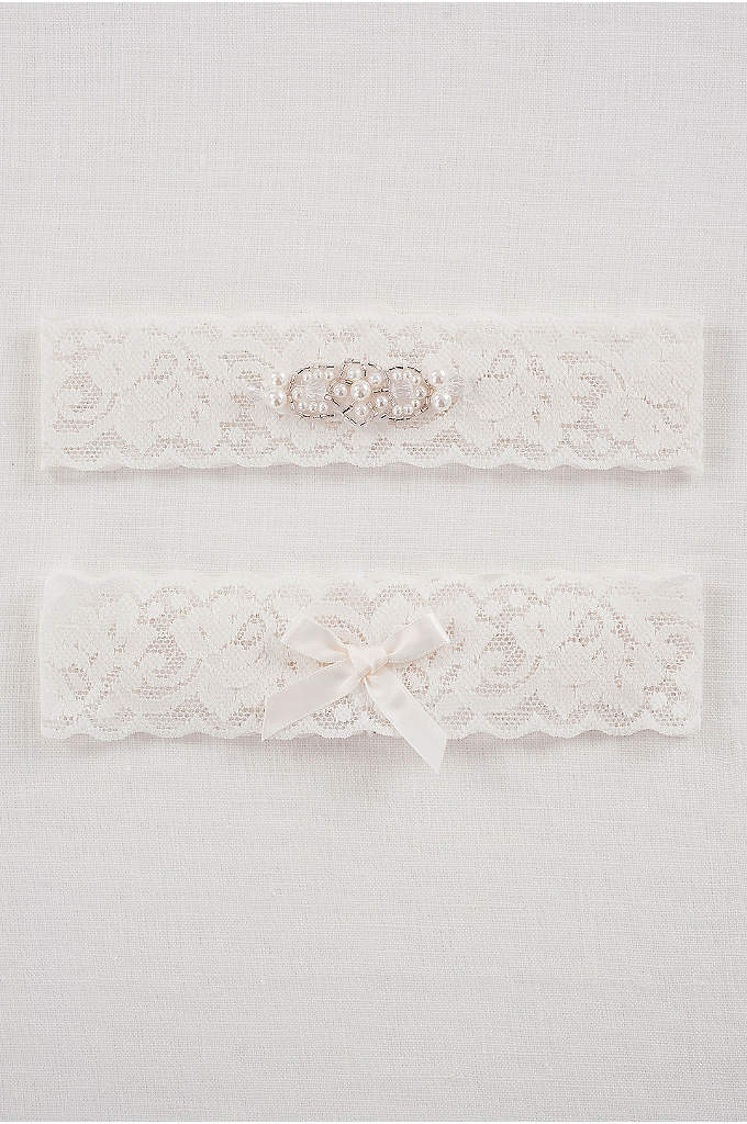 DB Exclusive Lace Elegance Bridal Garter Set - This delicate lace garter set is embellished with