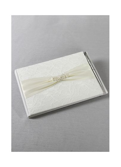 DB Exclusive Lace Elegance Guest Book With Pen - Wedding Gifts & Decorations